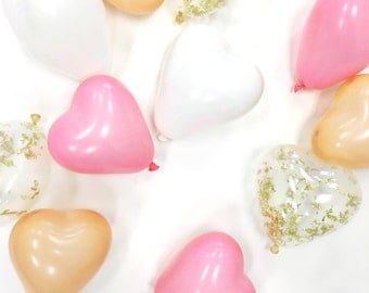 Valentine's Day Vday Galentine's Day 5 inch mini heart latex balloons pink blush peach white gold glitter confetti | FREE SHIPPING