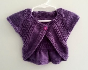 12-18 Mths. Baby Shrug, Hand Knit, Baby Top, Knit Baby Sweater. Purple and Red In Stock. Will custom knit up to 6 yrs old