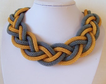 Golden and Grey Hematite Statement Beaded Crochet Knoted Rope Necklace - Beadwork necklace - modern necklace - statement chunky necklac