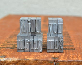 Ships Free - Will you marry me - Vintage letterpress metal type collection - unique engagement, marriage proposal, unique wedding - TS1005