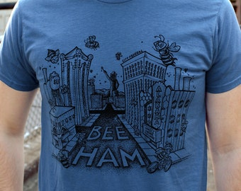 BLUE, SMALL- Buzz About Beeham T-shirt
