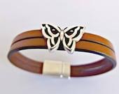 Butterfly bracelet, leather jewelry, ladies bracelet, magnetic bracelets, boho chic, women bracelets, bohemian jewelry, leather bracelets