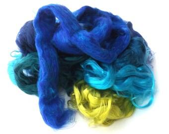 Silk Scraps - 50g - Mulberry - Tussah - Sari - 50g - 1.75oz - Blue/Green