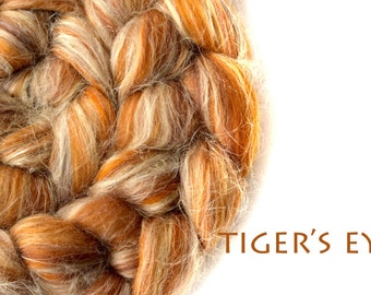 Blended top - Merino - flax - Tussah silk - 100g/3.5oz - amber - TIGER'S EYE