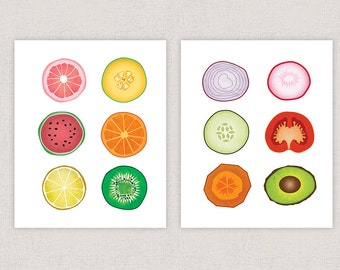 Fruits and Vegetables Collage Prints  - Art Collage Print - Kitchen Art Poster Print