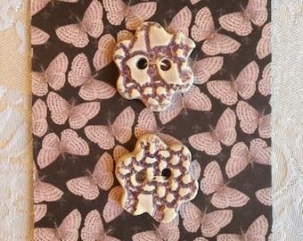 Handmade Ceramic Buttons ( Set Of 2 ) Purple Flowers