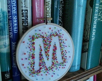 """Hand Embroidered 5"""" Personalised Letter Colour Burst French Knot Bright Hoop Art Alphabet Name A to Z Any letter"""