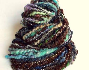 HOTCH POTCH YARN - Brown chunky wool, knitting or crochet yarn / wool, multicolored yarn, art yarn, merino, alpaca, bfl and mohair
