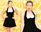 Velvet Halter Dress // Black White Bow Dress // 1980s 90s Steppin Out Rhinestone Mini Cocktail Bustier Cut Crinoline Skirt Size 11 Medium