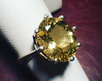 Golden Beryl Ring Large Oval Heliodor Solitaire Sterling Silver Size 7