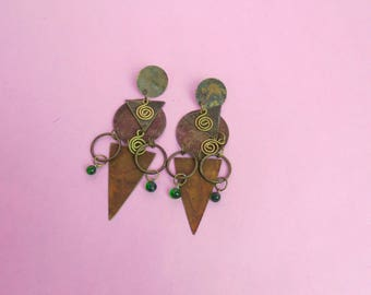 VTG 90s Bronze Geo Metal Dangle Earrings Boho, Retro, Bohemian, Hippie, Hipster