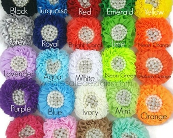 """Chiffon Flowers with Pearl and Rhinestone Center - 3"""" White Ivory Tan Light Hot Pink Grey Brook Red Yellow Lime Kelly Royal Black Blue More"""