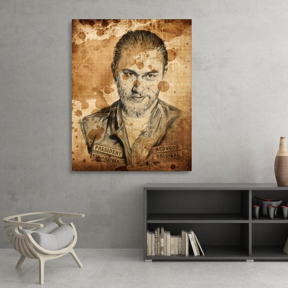 "Charlie Hunnam / Jackson Nathaniel ""Jax"" Teller SIGNED Ballpoint Pen Illustration Fine Art Print by Kyle Willis"