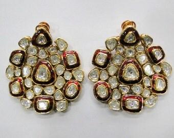 Vintage Antique 20k Gold Diamond Polki Kundan Enamel Meenakari Work Earring Pair