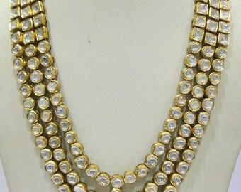 Vintage Antique 20k Gold Diamond Polki Kundan Enamel Work Necklace Rajasthan Ind