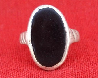 Ancient Bellydance Tribal Old Silver Black Onyx Ring India