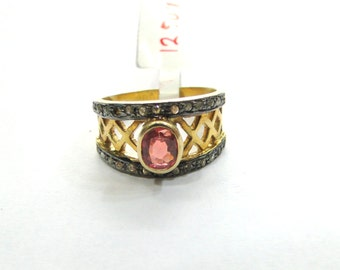 Victorian Diamond 14 K Gold, Sterling Silver Spinel & Diamond Gemstone Ring