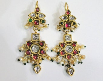 Vintage antique solid 20k Gold jewelry Diamond Ruby Emerald Gemstones Earrings