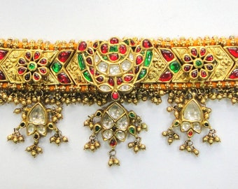 Vintage antique Solid 20K Gold Jewelry Precious Gemstones Chocker Necklace