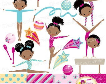 Little Girl Gymnasts Clip Art Set Afro Girl Cliparts Cute dress rhythmic gymnastic acrobatic Sport ribbon elements Digital Papers pf00064-1d