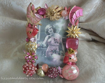 Pink Gold Vintage Jewelry Rhinestone 2 x 3 Photograph Picture Photo Frame