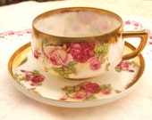 Vintage China Teacup with Gold Pink Purple Roses and Gold - Saji - Made in Japan - Mid Century - Gorgeous!