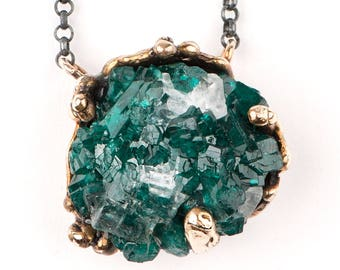 Dioptase Necklace with oxidized sterling silver chain - One of  Kind Crystal pendant for man and women