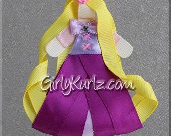 Rapunzel Hair Clip, Princess Hair Clip, Princess Hair Bow, Rapunzel Ribbon Sculpture Hair Clip, Tangled Hair Clip