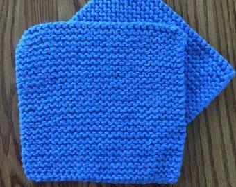 Hand Knit Cotton Pot Holders - Set of 2 - Medium Blue