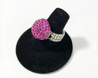 Bright Pink Rhinestone Ring Adjustable Stretch Band Silver Tone