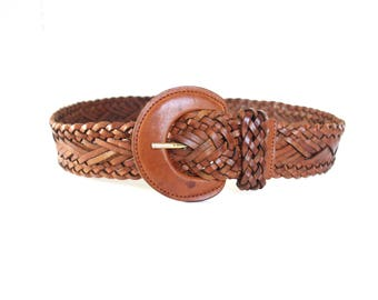 Vintage Woven Leather Belt, Brown Braided Leather Belt, Women's Leather Belt