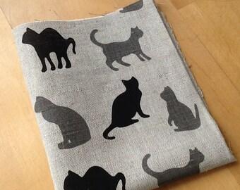 Linen and cotton fabric scrap- kawaii- cats pattern