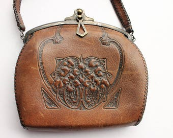 Antique Tooled Leather Purse, Art and Crafts Movement, JemCo, Circa Early 1900's