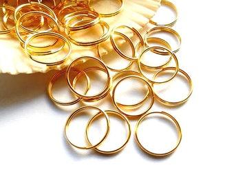 50 Gold Plated Double Loop Split Jump Rings 12mm - 8-17