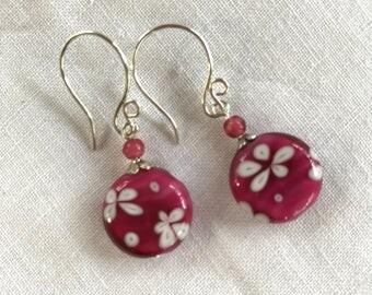 Magenta Pink Lamp Work Flower Glass Sterling Silver Earrings