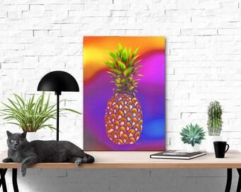 Pineapple Printable Wall Art | Digital Prints | Digital Art | Watercolor Background Digitally Painted Pineapple | PDF | Watercolor Art Print
