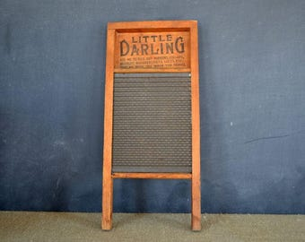 Vintage Little Darling Washboard | National Washboard Co | Wood Washboard |  Metal Scrubboard | Vintage Laundry Room Decor | Farmhouse Style