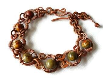 Handmade Copper Bracelet, Jasper Bracelet, Wire jewelry