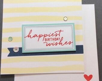 Birthday, Friend, Heart, Sequins