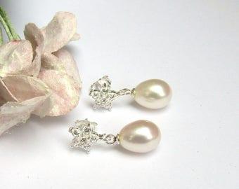 Freshwater pearl drop bridal earrings,  bridal jewellery , wedding jewellery , dainty sparkling CZ flower fitment