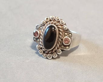 Antique Amethyst Ring w Marcasites Sterling Silver Tudor Style Art Deco Victorian Jewelry Purple Gemstone Size 8 Marked 925