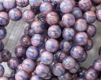 6mm Lilac Blue Marbled Druk Beads, 4140, 6mm Czech Glass Marbled Lilac Blue Smooth Round Druk
