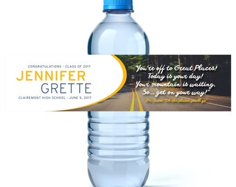 Personalized Graduation Labels -Custom Water Labels- Class of 2018 - The Places You Will Go - High school Graduation - College Graduation