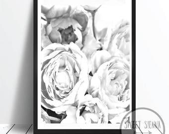 Peony Flowers Print, Flower Print, Peony Wall Print, Scandinavian art, wall art, monochrome print, wall decor, Flower wall art - 8x10'