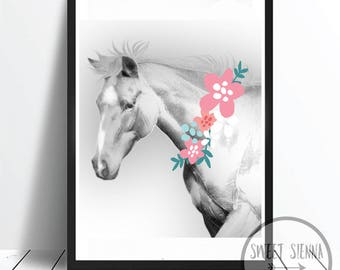 Horse Print, Animal Print, Horse Wall Print, animal wall art, monochrome print, wall decor, children wall art - 8x10'