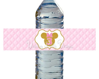 Pink and Gold Minnie Mouse Water Bottle Labels, Minnie Water Bottle Wrappers, 3rd Birthday Party, Pink and Gold Glitter, INSTANT DOWNLOAD