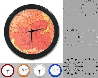 Orange Feather Wall Clock, Abstract Fun Design, Floral Artistic, Customizable Clock, Round Wall Clock, Your Choice Clock Face or Clock Dial