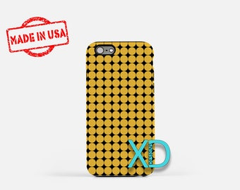 Black Diamond Phone Case, Black Diamond iPhone Case, Yellow Dot iPhone 7 Case, Mustard, Black Diamond iPhone 8 Case, Tough Case, Clear Case