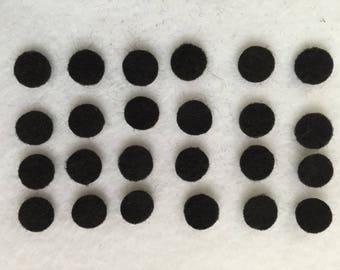 100 pcs .25 inch felt circle dots, Black Felt or pick color numbers, felt circles spots dots for eyes and pig nose