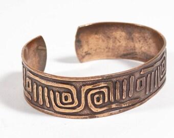 Solid Copper Bracelet Stamped Tribal Native Southwest Design